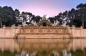 image of schoenbrunn  - Neptune fountain of Schonbrunn Palace in Vienna Austria at sunset - JPG