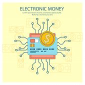 stock photo of electronic banking  - Flat design colored illustration concept for electronic money - JPG