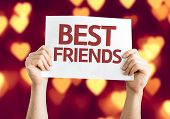 pic of bff  - Best Friends card with heart bokeh background - JPG
