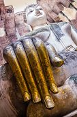 image of chums  - Golden fingers of Buddha Statue in Wat Sri Chum Temple - JPG