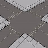 picture of intersection  - Birds eye view of empty road intersection - JPG