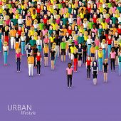 stock photo of population  - vector flat illustration of society members with a crowd of men and women - JPG