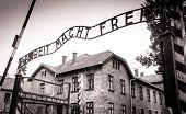 image of auschwitz  - Arbeit macht frei sign (Work liberates) in concentration camp Auschwitz, Poland