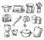 picture of kitchen appliance  - Set of kitchen appliance. Household utensils. 