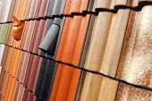 stock photo of ceramic tile  - pattern detail of orange ceramic roof tiles - JPG