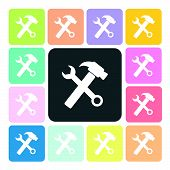 picture of rework  - Wrench and hammer Icon color set vector illustration - JPG