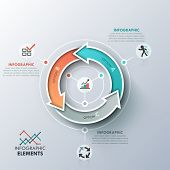 foto of curves  - Modern infographics cycle template with 3 realistic curved colorful arrows - JPG