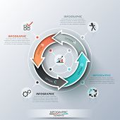 image of curves  - Modern infographics cycle template with 4 realistic curved colorful arrows - JPG