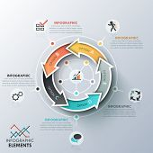 picture of curves  - Modern infographics cycle template with 5 realistic curved colorful arrows - JPG