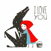 foto of fairy  - Little Red Riding Hood hugs wolf - JPG