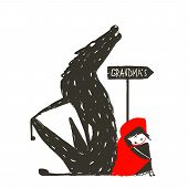 image of little red riding hood  - Little Red Riding Hood and the wolf sitting back to back near a sign with the sign Grandma - JPG