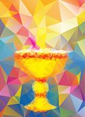 stock photo of baptism  - a cup as a baptism symbol in triangular style - JPG