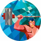 picture of snatch  - Low polygon style illustration of a weightlifter snatching grabbing lifting barbell with facing front set inside circle shape - JPG