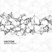 picture of cybernetics  - Vector element of white abstract cybernetic particles on black background - JPG