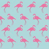 image of pink flamingos  - Seamless flamingo vector illustration in blue background - JPG