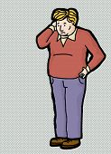 picture of scratching head  - Cartoon of blond man scratching his head - JPG