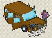 image of scratching head  - Man scratching his head and looking at damaged vehicle - JPG