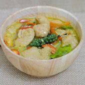 pic of thai cuisine  - Green curry fish balls is Thai cuisine - JPG