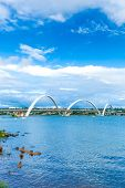 stock photo of brasilia  - JK Bridge in Brasilia - JPG