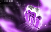 foto of cross-section  - Digital illustration of  teeth cross section   in  colour  background - JPG