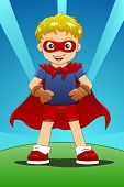 picture of heroes  - a boy wear cape and pretend to be super hero - JPG