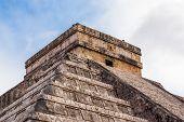 stock photo of mayan  - Close up Chichen Itza Mayan Pyramid Yucatan Mexico - JPG