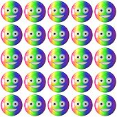 pic of emoticons  - Emoticon rainbow plastic face textures on white - JPG