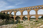 pic of aqueduct  - Pont du Gard is an old Roman aqueduct near Nimes in Southern France - JPG
