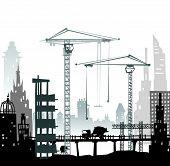 image of lorries  - Building site with buildings - JPG