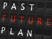 picture of past future  - past future plan words on airport board background - JPG