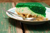 picture of fancy cake  - Horizontal photo of single portion of green fruit kiwi cake with visible seeds in jelly layer - JPG