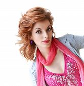 image of peek  - Young redhead girl peeking surprised on white wall background - JPG