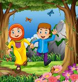 stock photo of muslim man  - Man and woman muslims holding hands in the jungle - JPG