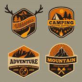 Постер, плакат: Set of Vintage wilderness adventure camping and mountain badge logo design