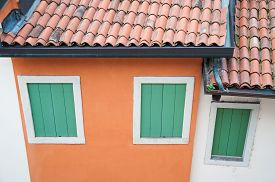 image of vicenza  - Rooftops and windows of a typical house of Vicenza North Italy - JPG