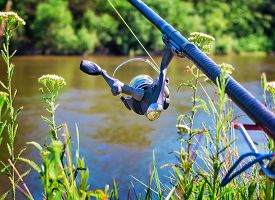 picture of rod  - On the banks of the beautiful river above the water feeder installed  - JPG