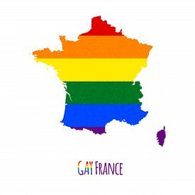 stock photo of bisexual  - Vector map of France in LGBT  - JPG