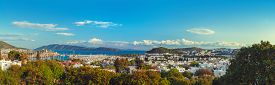 pic of gumbet  - Touristic place Bodrum town in summer Turkey - JPG