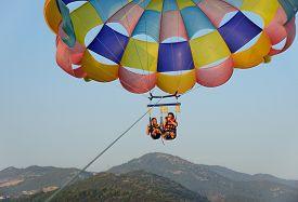 foto of parasailing  - parasailing - JPG