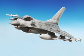 pic of aeroplan  - Military F16 fighter jet close up soaring through the air - JPG