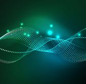 wave particles background - 3D illuminated digital wave of glowing particles. Futuristic and techno poster