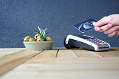 Contactless Payment Card Pdq Background Copy Space With Hand Holding Credit Card To Pay poster