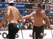 HERMOSA BEACH, CA. - AUGUST 9: Phil Dalhausser and Todd Rogers vs. John Hyden (L) and Sean Scott (R)