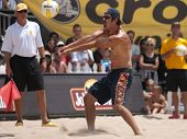 HERMOSA BEACH, CA. - AUGUST 9: Phil Dalhausser and Todd Rogers (pictured) vs. John Hyden and Sean Sc