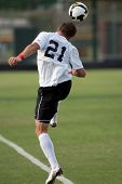 NORTHRIDGE, CA. - AUGUST 28: Devin Deldo headering the ball during the UNLV vs. CSUN pre-season exhi