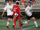 NORTHRIDGE, CA. - AUGUST 28: Jake Troy (L) Robert Garcia (M) and Chad Borak (R) fight for the ball d