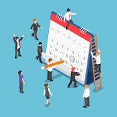 Isometric Business People Scheduling Operation On Desk Calendar poster