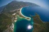 Aerial view of the beach of Oludeniz and Blue Lagoon, Fethiye, Turkey poster