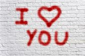 stock photo of arriere-plan  - Love graffiti - JPG