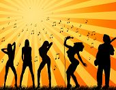 foto of heatwave  - silhouette musician singer and backup singers in front of the hot sun - JPG